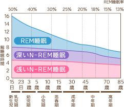 歳を重ねていくにつれレム睡眠の比率は減り ノンレム睡眠が増えることを示すグラフ
