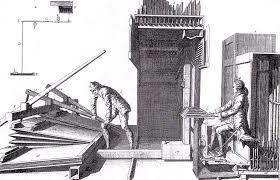 フイゴを操作する様子を描く昔の絵画