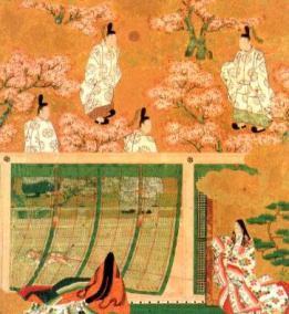 御簾越しに会話する男性と女性を描いた絵