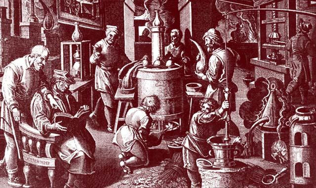 蒸留の技術や器を開発しているアラブ人の様子