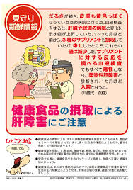 健康食品やサプリの服用による肝障害について注意を喚起するポスター
