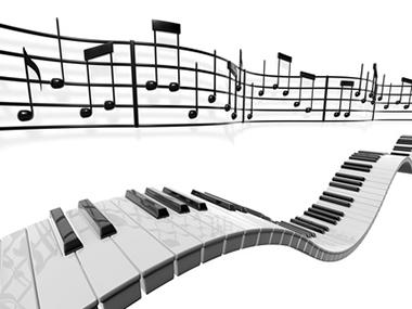 五線譜と鍵盤のイラスト
