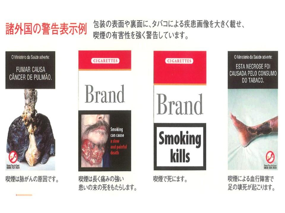 外国のタバコパッケージに記載されているタバコの有害性を警告する表示