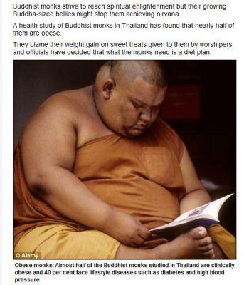 読書する肥満の僧侶
