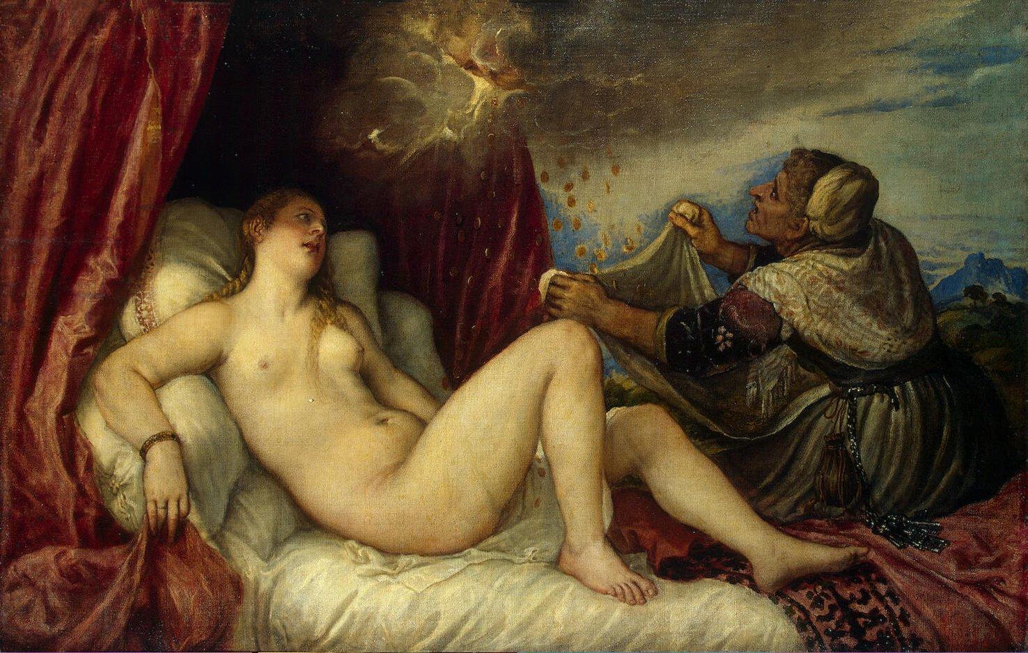 天使の代わりに降ってくる金貨を袋に入れようとする老婆が描かれたダナエ