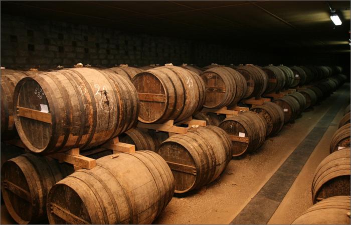 熟成庫に並ぶ樽の写真