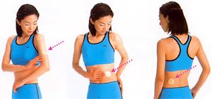 ニコチンパッチを貼る身体の部位を示す写真