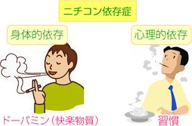 心理的依存は禁煙後も長期にわたり出現し再喫煙を引き起こすことを説明する図