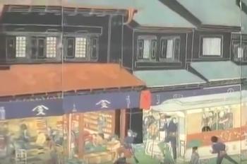 江戸の街を彩った藍色の暖簾などの絵2