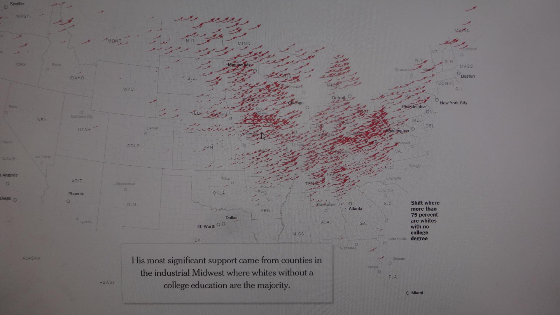 ラストベルトと呼ばれる地域で吹き荒れたトランプ旋風(赤の矢印)を示す地図