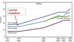 食事の脂質制限を始めてから肥満や糖尿病の患者さんが増加し始めたことを示すグラフ