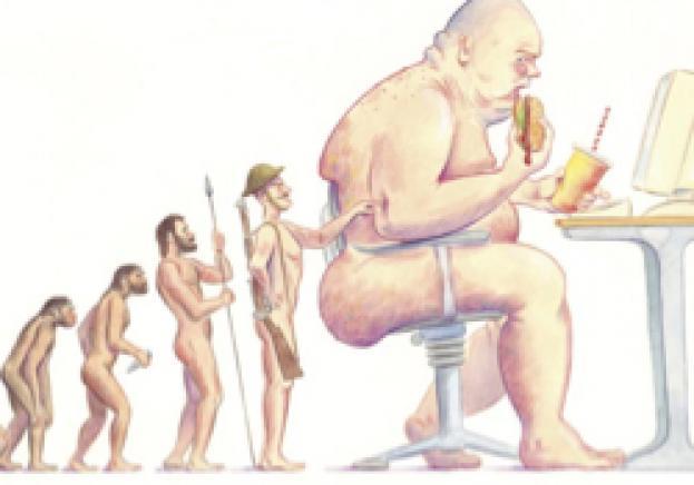 人が時代とともに肥満になってきたことを示すイラスト