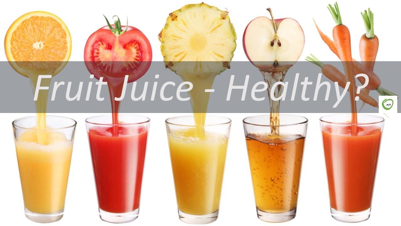 フルーツジュースの健康性に疑問を投げかけるポスター