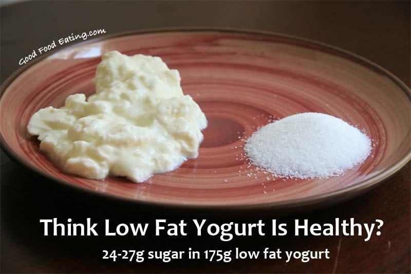 低脂肪ヨーグルトの健康性に疑問を投げかけるポスター