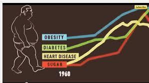 砂糖の摂取の増加とともに肥満 糖尿病 心血管疾患のリスクが増えていることを示すグラフ