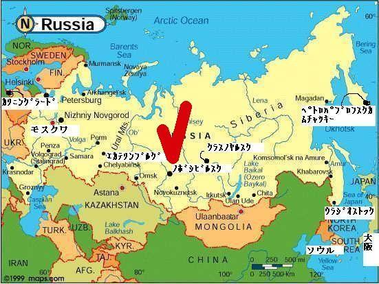 ノヴォシビルスクの位置を示す地図