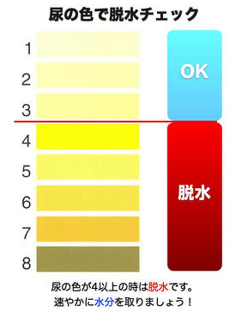 尿の色と脱水状態の関連を示す図