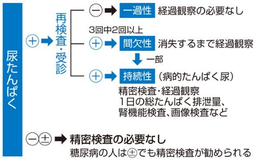 尿タンパクの再検査について説明した図