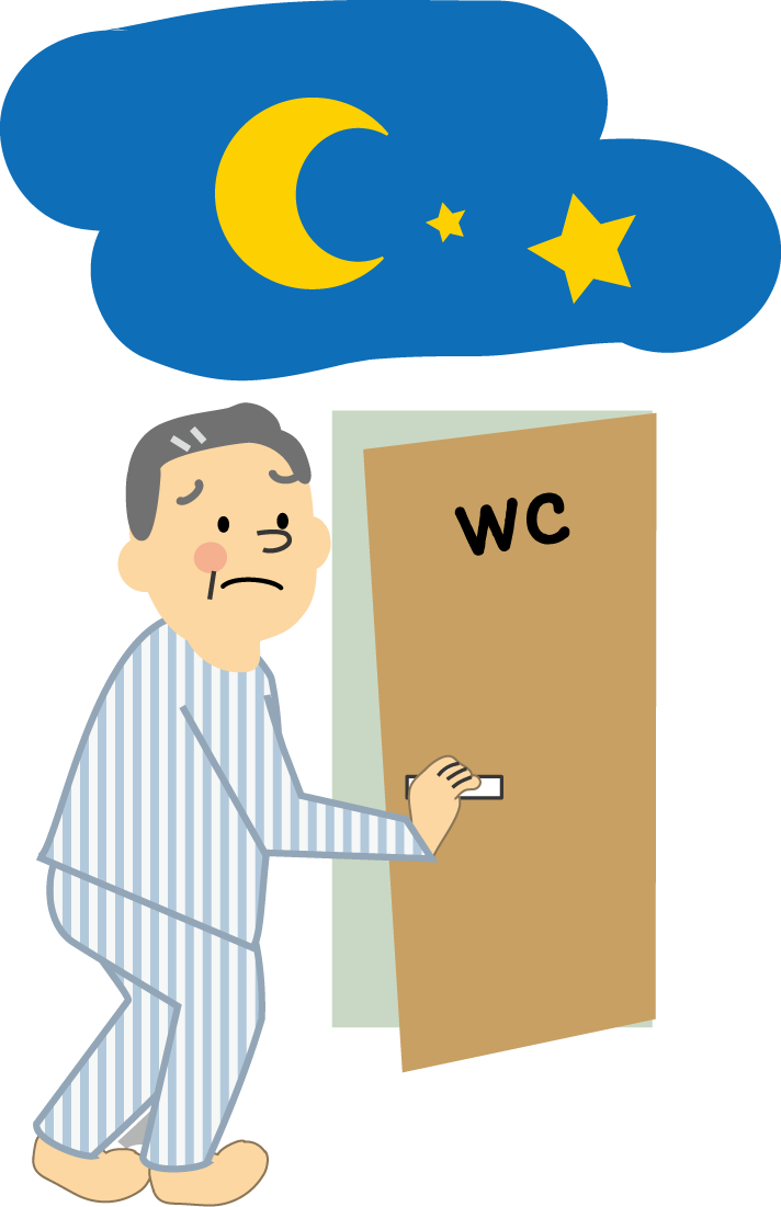 夜間の頻尿に悩む人のイラスト