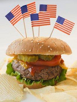 100%ビーフのハンバーガー