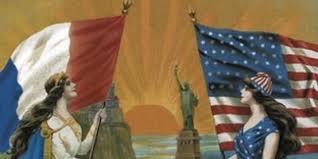 アメリカとフランスの国旗