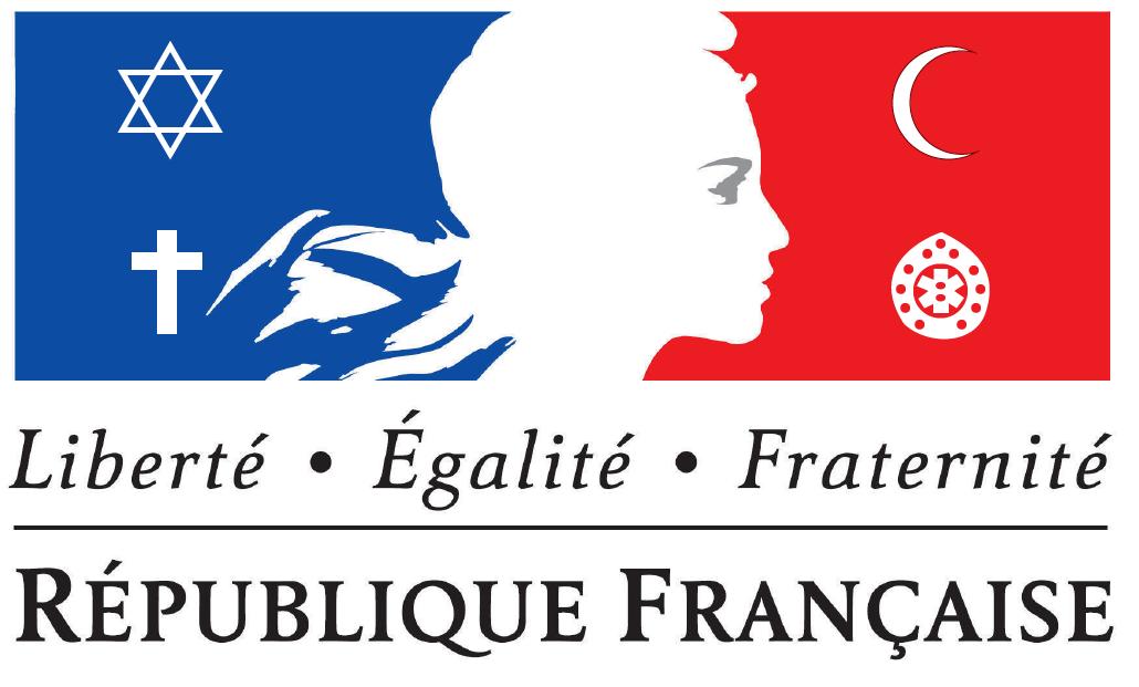フランスの3色旗に自由 平等 博愛の言葉が書かれた図