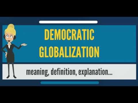 民主主義とグローバリゼーションをうまく調和させることの大切さを訴えるポスター
