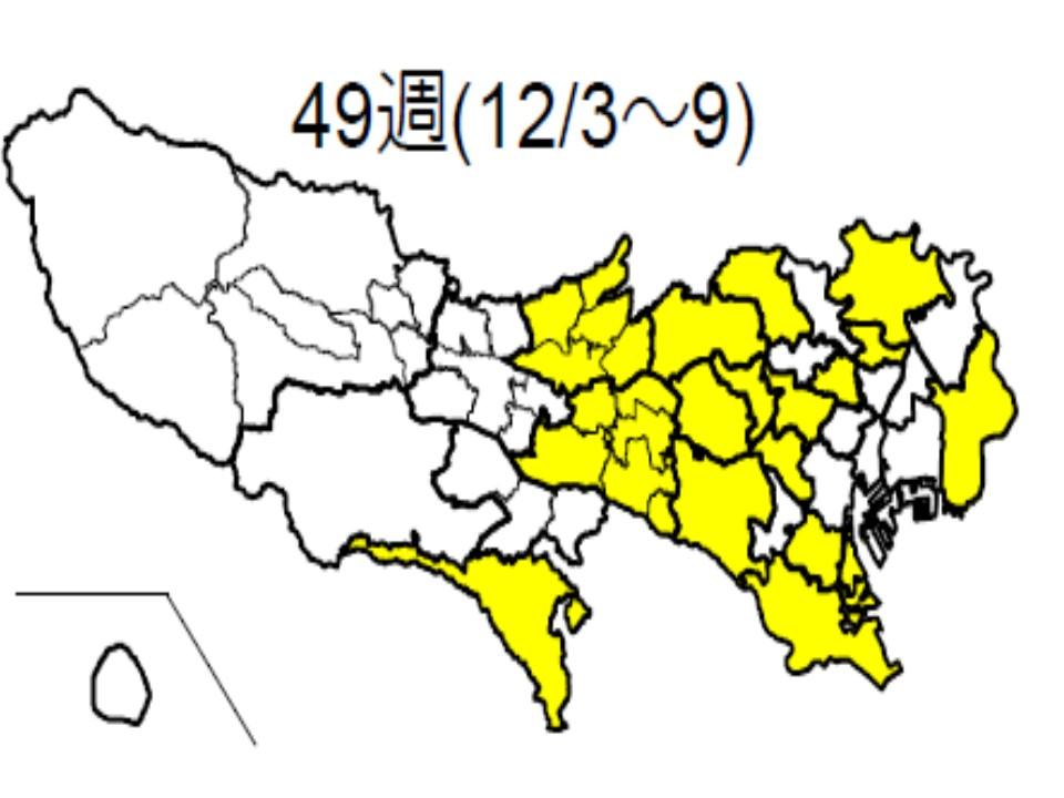 23区内での流行状況を示す図