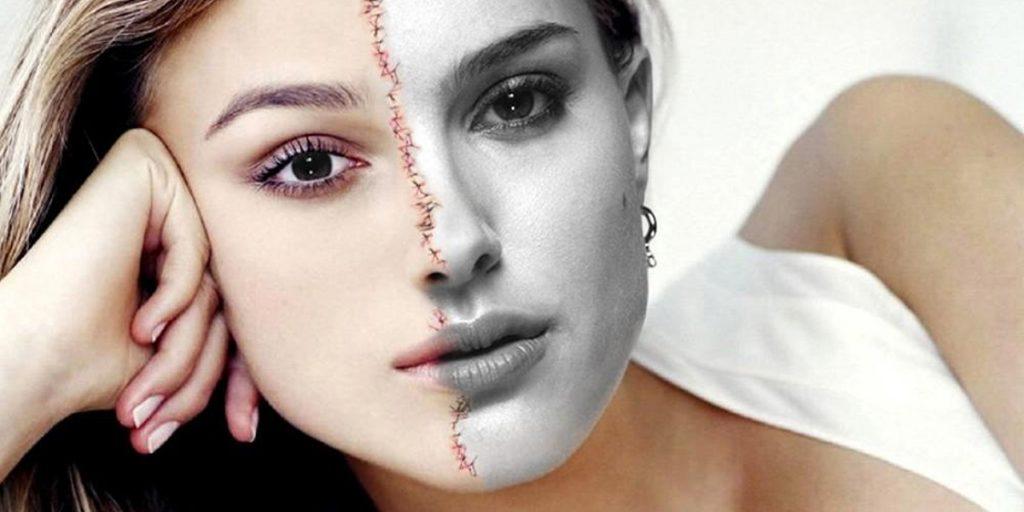 顔半分がキーラ もう半分がナタリーの合成写真