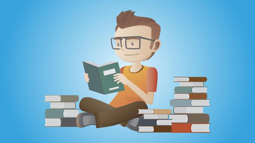 本を読み勉強している人のイラスト