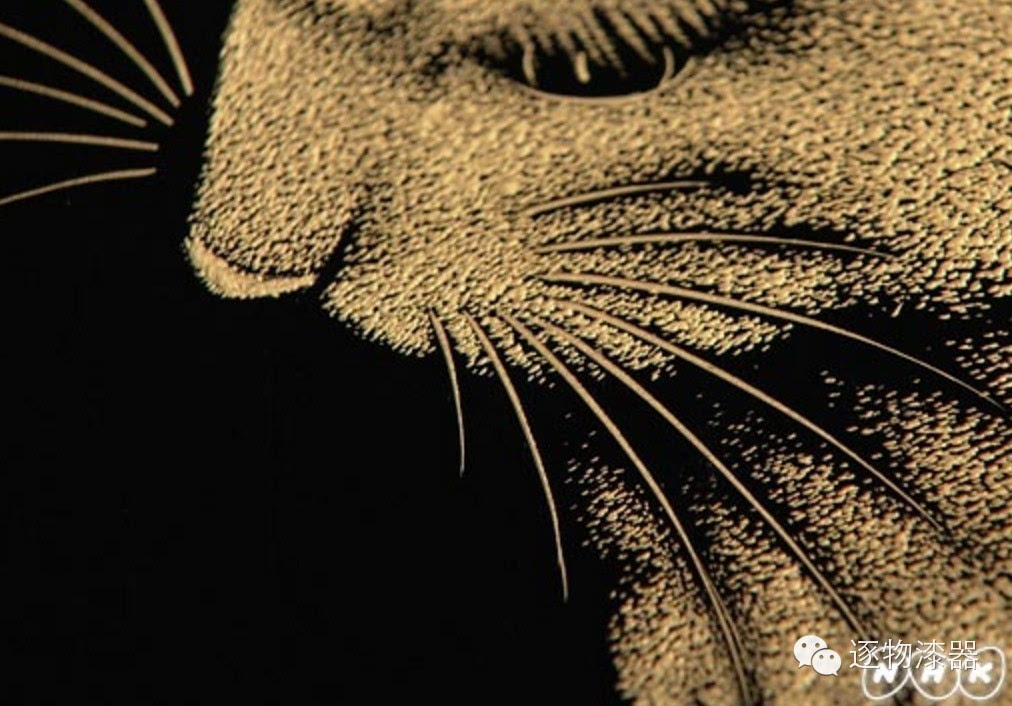 沈金で描かれたネコの顔