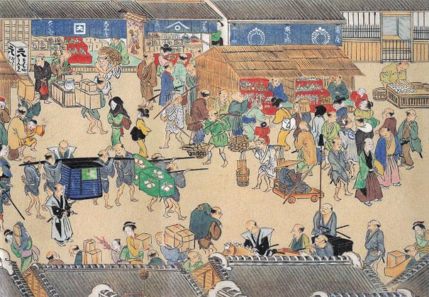 江戸時代のにぎわう街の様子