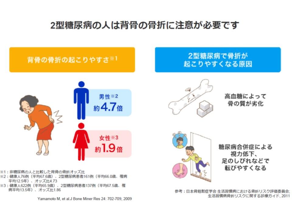 糖尿病の人の骨折の起こる頻度と骨折が起こりやすい理由の説明図