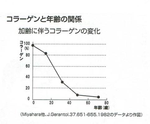 加齢によるコラーゲン含有量の低下を示すグラフ