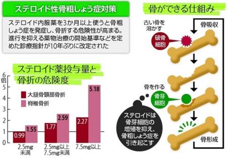 ステロイド性骨粗鬆症が生じる機序の解説図