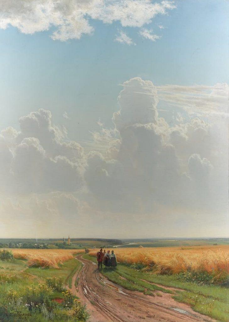 夏の午後の青い空の下に広がるライ麦畑を描いた絵画