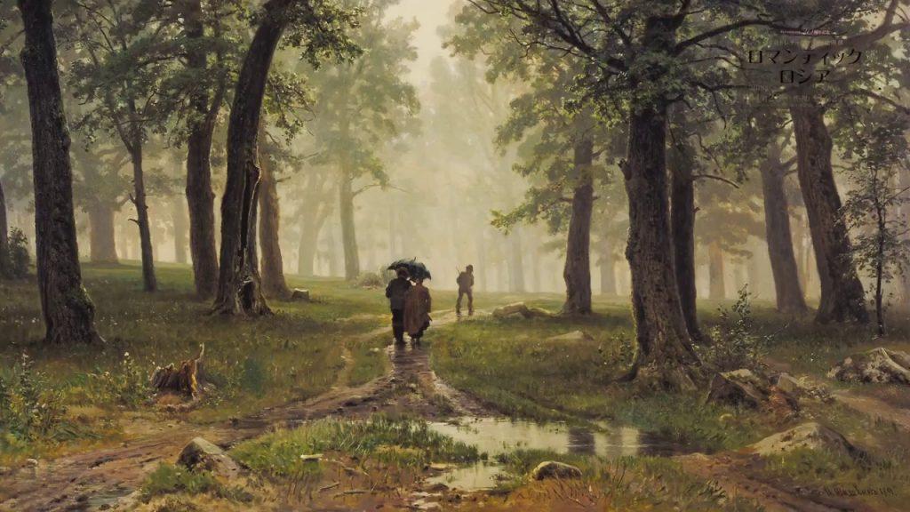 雨の樫の木の林を描いた絵画