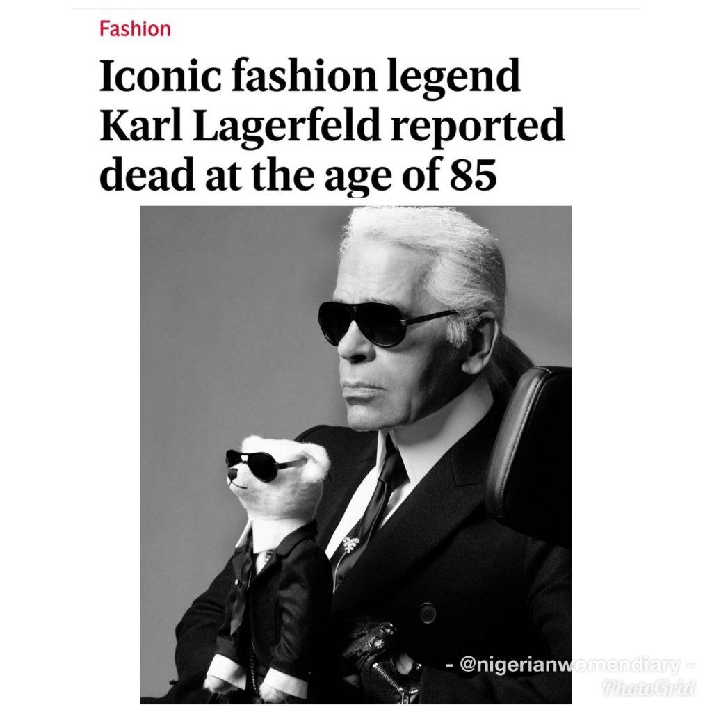 ラガーフェルドの死を伝える新聞