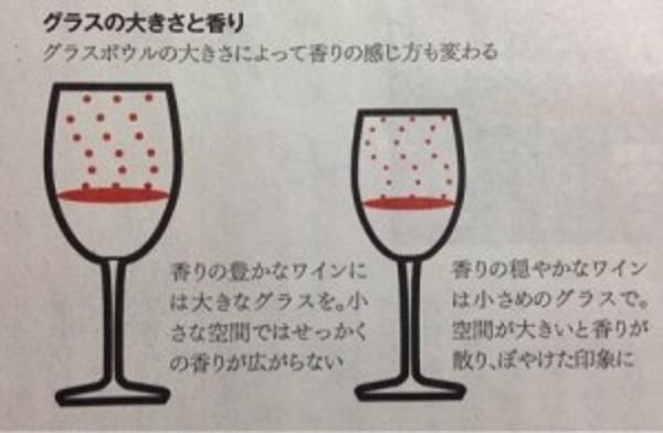ワイングラスの大きさと香りの立ち方の関連を示した図