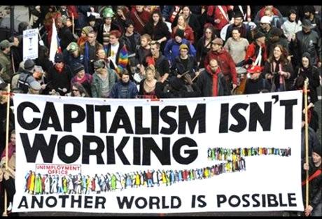 資本主義に反対するデモ