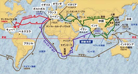 大航海時代の世界地図とコロンブスたちがたどった航路