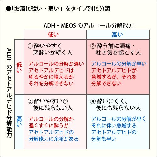 ADH ALDHの活性とお酒の酔いやすさ 強さの関連