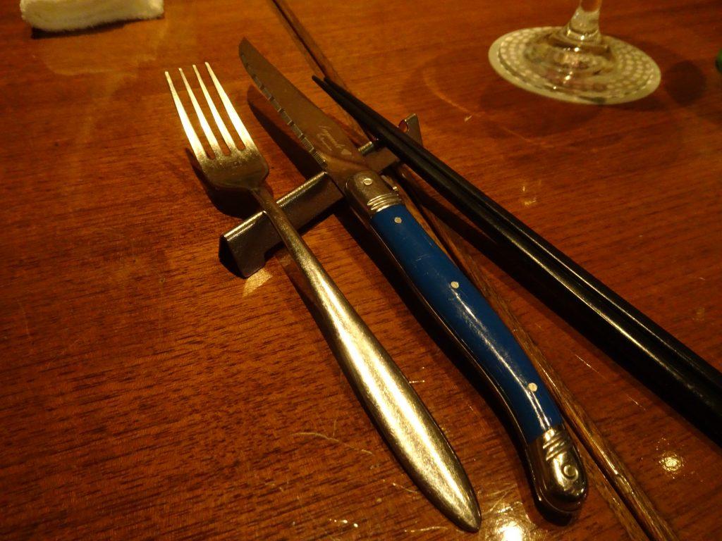 チョイスした青色のナイフ