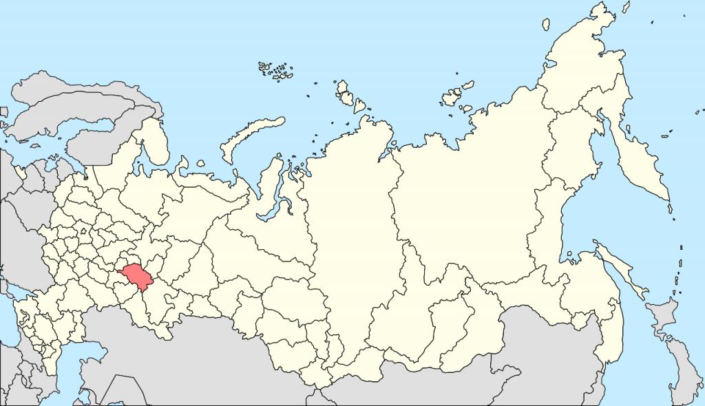 タタルスタンの位置を示す地図