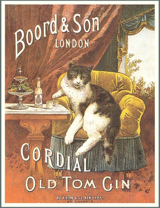 ネコが描かれたジンのポスター