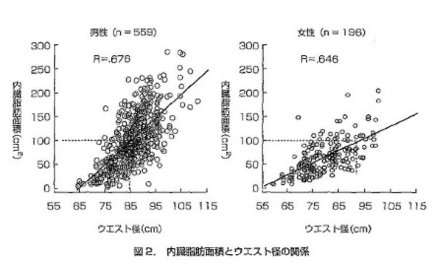 ウエスト径と内臓脂肪量との関連を示す図表