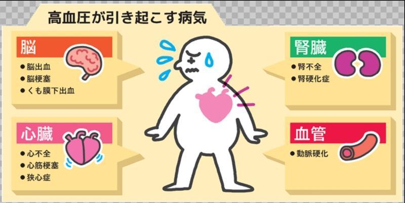 高血圧が引き起こす病気をまとめた図
