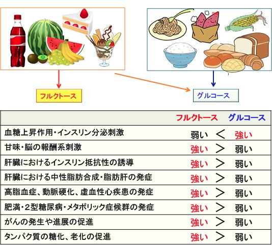 ブドウ糖と果糖の代謝のされ方の違いを示す図表