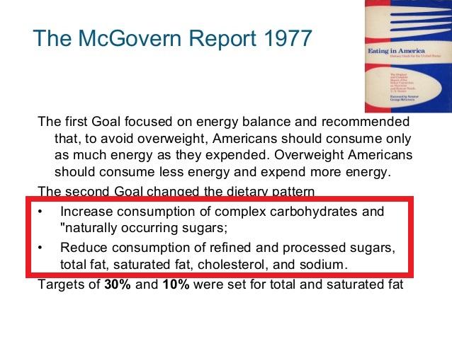 脂肪悪玉説を公表したマクガバンレポートの写真
