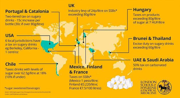 砂糖税が実施されている国々が示された地図